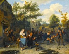 """""""Peasants Playing Skittles before an Inn"""".   Cornelis Dusart.  Coleccion Privada -"""