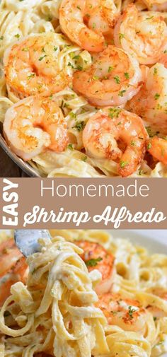 Shrimp Alfredo recipe made with homemade Alfredo Sauce fettuccine and juicy Parmesan Coated Shrimp This comforting dinner is ready in only 30 minutes dinner easyrecipes easydinner pasta shrimp alfredo Shrimp Recipes For Dinner, Shrimp Recipes Easy, Seafood Recipes, Cooking Recipes, Seafood Pasta, Recipe For Shrimp With Pasta, Shrimp With Cream Sauce, Food With Shrimp, Sheimp Pasta