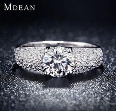 Oro blanco lleno anillo vintage anillos de compromiso de boda para mujeres sterling joyería zafiro Bijoux Anel Bague