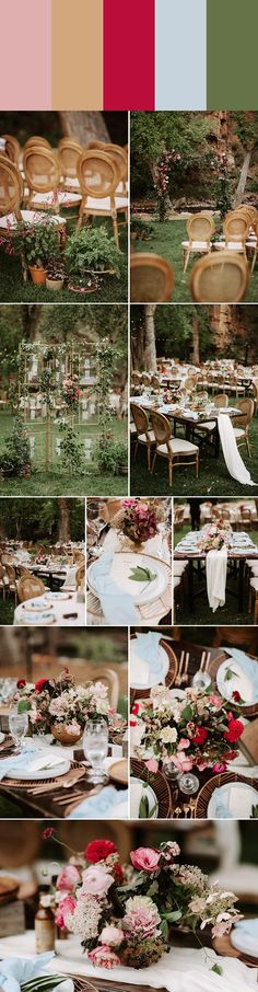Spring wedding color palette idea: ballet slipper + pinewood + raspberry + periwinkle + moss | Image by June Photography