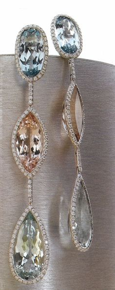 Aquamarine, Morganite, Green Beryl and Diamond Earrings from Mark Patterson Aura Collection.