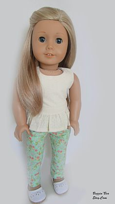 Mint Floral Skinny Pants and Cream Peplum Top - American Girl Doll Clothes