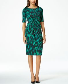 Connected Printed Faux-Wrap Shift Dress