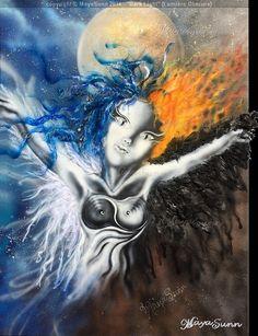 """""""Dark Light"""" by MayaSunn Airbrush and real feathers. Light In The Dark, Airbrush, Body, Feathers, Anime, Painting, Art, Persona, Air Brush Machine"""