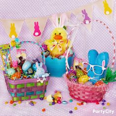 Decorate your basket in 3 different ways using a variety of supplies from Party City! Materials Needed: Easter basket, pastel fillable Easter eggs, assortment of candy, plush toys, beaded bracelets and glasses. Directions: Once you pick an Easter basket, cover the bottom with plastic grass. Then, select a plush toy for the focal point of the basket. Pick out an assortment of candy, plastic fillable eggs, bead.