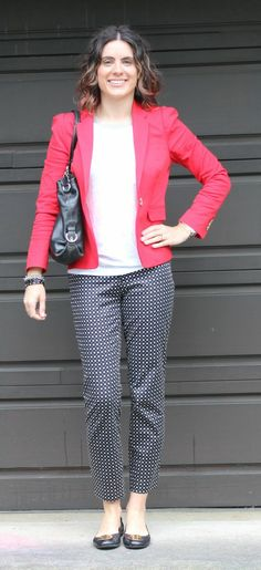 printed pants style.  colored blazer.  summer style, work outfit, work style