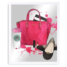 Oliver Gal Bags Shoes and Coffee Mirror Art - 15583_20X24_MIR_WHITE
