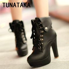 Women Faux Leather Ankle Boots Designer Fashion Platform Chunky High Heels Lace Up Short Booties Woman 2016 Autumn Winter Shoes
