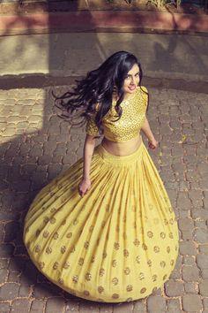 W/ full blouse. [Yellow Heavy Lehenga Set - waliajoness New designer Mishru now on…] Indian Attire, Indian Ethnic Wear, Indian Wedding Outfits, Indian Outfits, Indian Clothes, Wedding Dress, Wedding Shoot, Ethnic Fashion, Indian Fashion