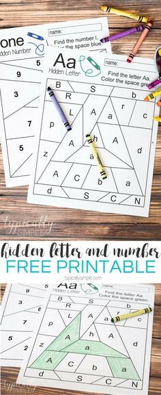 Free printable worksheets to practice letter and number recognition. Grab a few crayons and start coloring to find the Hidden Letter A and Hidden Number Perfect for preschool or early elementary as a way to practice letter and number identification and Preschool Letters, Learning Letters, Preschool Kindergarten, Kids Learning, Free Preschool, Preschool Letter Worksheets, Letter Recognition Kindergarten, Kindergarten Checklist, Preschool Readiness