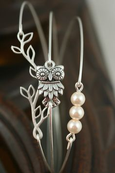 Silver Bracelet Silver Bangle Owl Bracelet Pearl door simplychic93