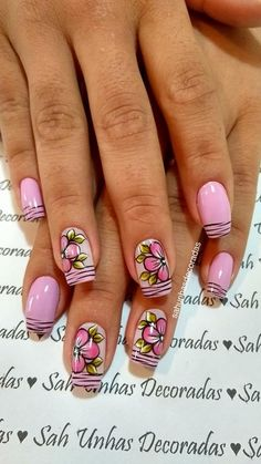 Flower Nail Designs, Gel Designs, Pretty Nail Designs, Pretty Nail Art, Nail Art Designs, Nails & Co, Fun Nails, Daily Makeup Routine, Flower Nails
