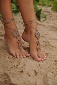 Crochet+Tan+Barefoot+Sandals+Brown+Nude+shoesWedding+by+barmine,+$15.00
