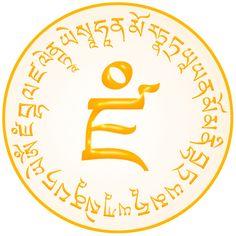 Symbolic Script of the Mantra - OM DZAMBHALA DZALIN DRAYE SOHA with its seed syllable. Some people believe that among all the Dzambhala's (Jambala, Dzambala, Zambala), the Yellow Dzambhala is the most powerful one. Buddhist Symbols, Buddhist Art, Tibetan Mandala, Tibet Art, Baby Buddha, Tantra, Art Music, Script, Thoughts