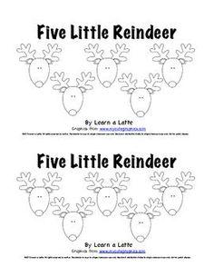 Five Little Reindeer - Christmas Emergent Reader for Students - Learn a Latte - TeachersPayTeachers.com