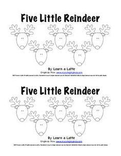 Five Little Reindeer - Christmas Emergent Reader for Students - Learn a Latte - TeachersPayTeachers.com