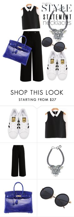 """""""blue her"""" by omahtawon ❤ liked on Polyvore featuring adidas Originals, TIBI, Hermès and statementnecklaces"""