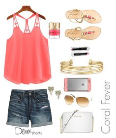 """""""Coral Fever"""" by ssfosh ❤ liked on Polyvore featuring Canvas by Lands' End, Lilly Pulitzer, Michael Kors, Tom Ford, LifeProof, Kate Spade, Stella & Dot, La Petite Robe di Chiara Boni, Smith & Cult and jeanshorts"""
