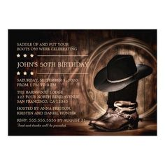Country Western Wild West 50th Birthday Party Invitations