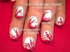 Cherry Blossom Nail Art on White