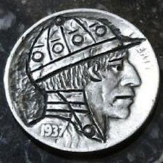 J. PRESS HOBO NICKEL - JOCKEY* - 1937 BUFFALO PROFILE Hobo Nickel, Buffalo, Classic Style, Coins, Carving, Profile, User Profile, Rooms, Wood Carvings