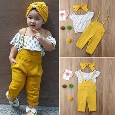 Toddler Baby Girls Kids Clothes Off Shoulder Floral print sleeveless Ruffle pullover Tops strap solid Trousers cotton outfit - Children's fashion - Baby Dress Design, Baby Girl Dress Patterns, Kids Outfits Girls, Little Girl Dresses, Little Girl Fashion, Toddler Fashion, Fashion Kids, Style Fashion, Friends Fashion