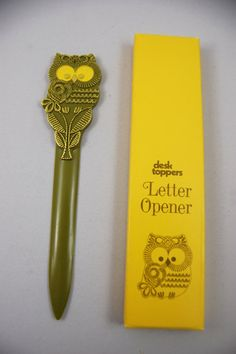 Vintage Owl Letter Opener  / NIB Avocado Green by TheSpicyTurtle, $15.00