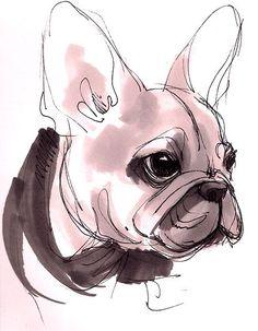 French Bulldog Puppy, watercolor illustration, by Beavotron, Ergebnis für http://www.deviantart.com/download/150230071/