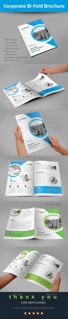 Corporate Bi-fold Brochure Brochures, Brochure template and - free bi fold brochure template word