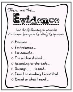 Help students include evidence in their reading responses with these prompts.