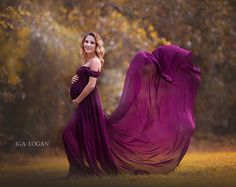Roxy Gown Long Sleeve Maternity Gown Split Front Gown