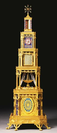 A GEORGE III ORMOLU, GENEVA ENAMEL AND PASTE-SET MUSICAL AUTOMATON QUARTER STRIKING TOWER CLOCK FOR THE CHINESE MARKET, LONDON, CIRCA 1790