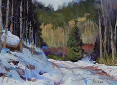 "Daily Paintworks - ""Colorado Winter Snow Landscape Oil Painting Canyon Road Wintery Day by Colorado Landscape Artist S"" - Original Fine Art for Sale - © Susan Fowler"