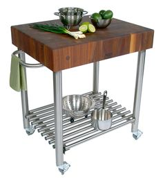 "Boos Walnut Cucina D'Amico Cart - 5"" End-Grain Block,  Steel Base at http://butcherblockco.com"