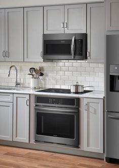 Shop Frigidaire Built-In Single Electric Wall Oven Black stainless steel at Best Buy. Find low everyday prices and buy online for delivery or in-store pick-up. Grey Kitchen Cabinets, Kitchen Redo, Kitchen Layout, Home Decor Kitchen, Home Kitchens, Kitchen Remodel, Kitchen Ideas, Kitchen Tips, Kitchen With Black Countertops