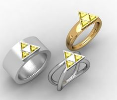 Triforce Ring: http://mashable.com/2013/08/14/wedding-rings-geeky/#gallery/23-adorkable-wedding-rings-to-geek-out-over/520bd22897b2f87d0f00056d