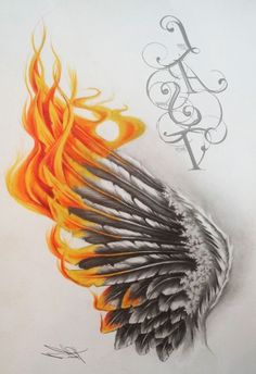 The dark gray area make a butterfly wing... with the Phoenix flames coming off of it?