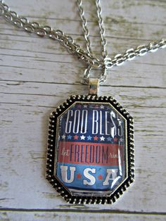 God Bless the USA, Patriotic Necklace, Glass Tile Necklace, Americana Necklace, 4th of July Necklace,Red White Blue Pendant,Freedom Necklace by BrownBeaverBeadery on Etsy