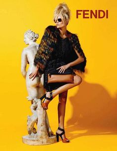 26 year old Russian top model, Natasha Poly was photographed by Karl Lagerfeld for the Resort 2012 advertising campaign images of Fendi in front of yellow backdrop. We believe that this is Fendi's first Resort campaign. Fendi, Gucci Gucci, Artemis, Jet Set, Natasha Poly, Vogue, Russian Beauty, Top Photographers, Fashion Prints