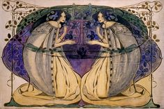 Margaret and Frances Macdonald and their Glasgow School of Art classmates Charles Rennie Mackintosh and Harold MacNair were Art Nouveau& Glasgow Four. Charles Rennie Mackintosh, Gustav Klimt, Art And Illustration, Illustrations, 7 Arts, Glasgow School Of Art, Glasgow Girls, Art And Craft, Arts And Crafts Movement