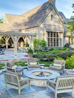 Stone patio and landscaping idea.