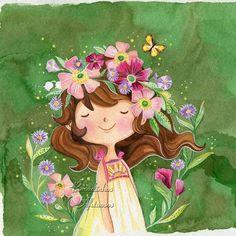 Art And Illustration, Illustrations, Cute Cartoon Wallpapers, Anime Art Girl, Belle Photo, Cute Drawings, Cute Art, Watercolor Art, Folk Art