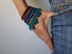 Puya Berteroniana beaded bracelet with by irregularexpressions, $158.00