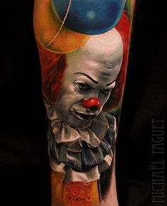 Penny wise by @michaeltaguet #inked #inkedmag #pennywise #color #realism #art #ink #it #clown #freshlyinked