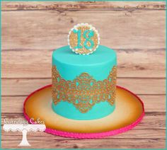 Turquoise and edible gold lace cake www.facebook.com/i.love.cuteology.cakes