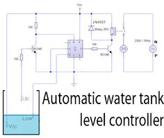 Automatic water tank level controller circuit Schematic Diagram