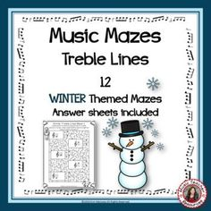 Music Games: WINTER TREBLE LINES MUSIC MAZES This file contains 12 WINTER themed music mazes based on the pitch of the treble lines. For each question box in the maze, there are two answer boxes. If the correct answer is selected, the maze leads to the next question box, but if the incorrect answer is chosen, the maze leads to a dead end. No prep, just print and go! ♫ ♫ #musiceducation #mtr