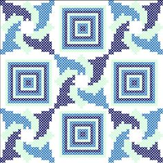 Third and final blue and white quilt inspired cross stitch pattern #crossstitch