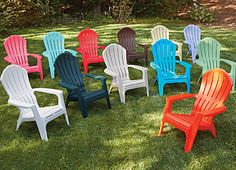 """These are the new RealComfort Adirondack Chairs--they are more ergonomic (for back & head support)so many colors to choose from?? what color should I pick? I am getting a couple of these for my deck--Im so excited! Best Thing... they are """"Made in the USA""""! available at: TrueValue.com"""