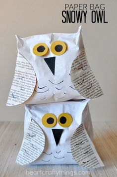 This stuffed paper bag snowy owl craft is a perfect compliment to learning about snowy owls. Fun winter kids craft and preschool craft.